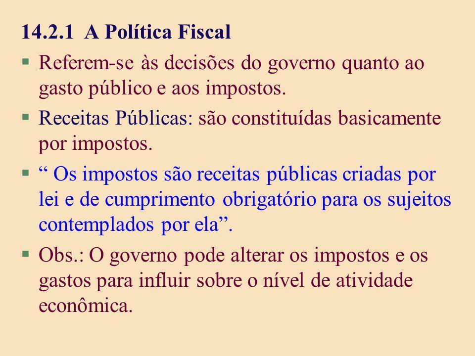 14.2.1 A Política Fiscal Referem-se às decisões do governo quanto ao gasto público e aos impostos.
