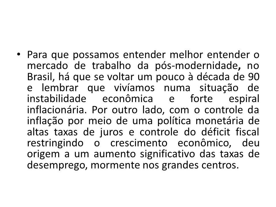 Para que possamos entender melhor entender o mercado de trabalho da pós-modernidade, no Brasil, há que se voltar um pouco à década de 90 e lembrar que vivíamos numa situação de instabilidade econômica e forte espiral inflacionária.