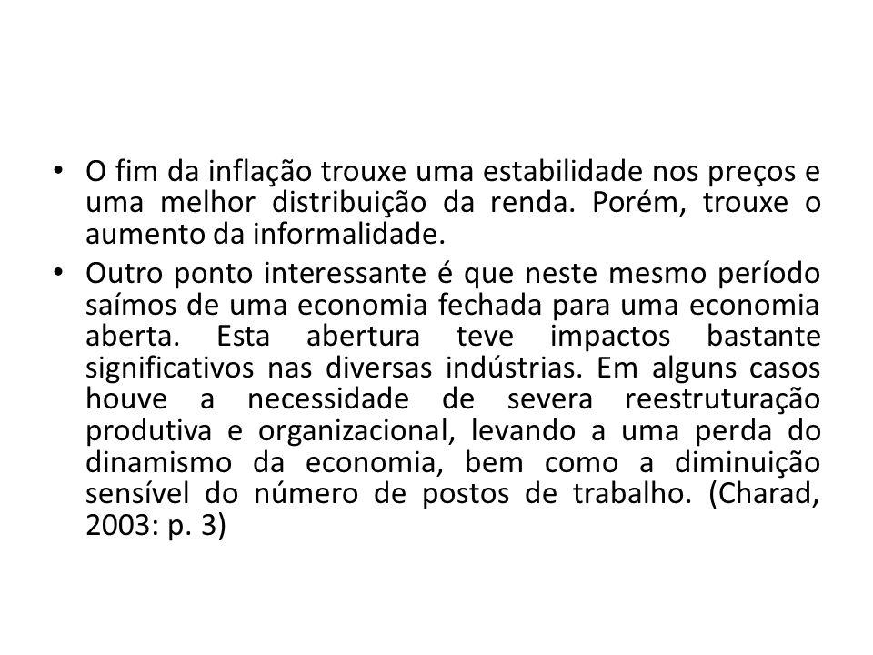 O fim da inflação trouxe uma estabilidade nos preços e uma melhor distribuição da renda. Porém, trouxe o aumento da informalidade.