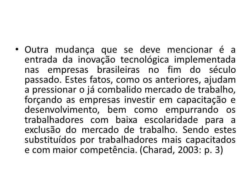Outra mudança que se deve mencionar é a entrada da inovação tecnológica implementada nas empresas brasileiras no fim do século passado.