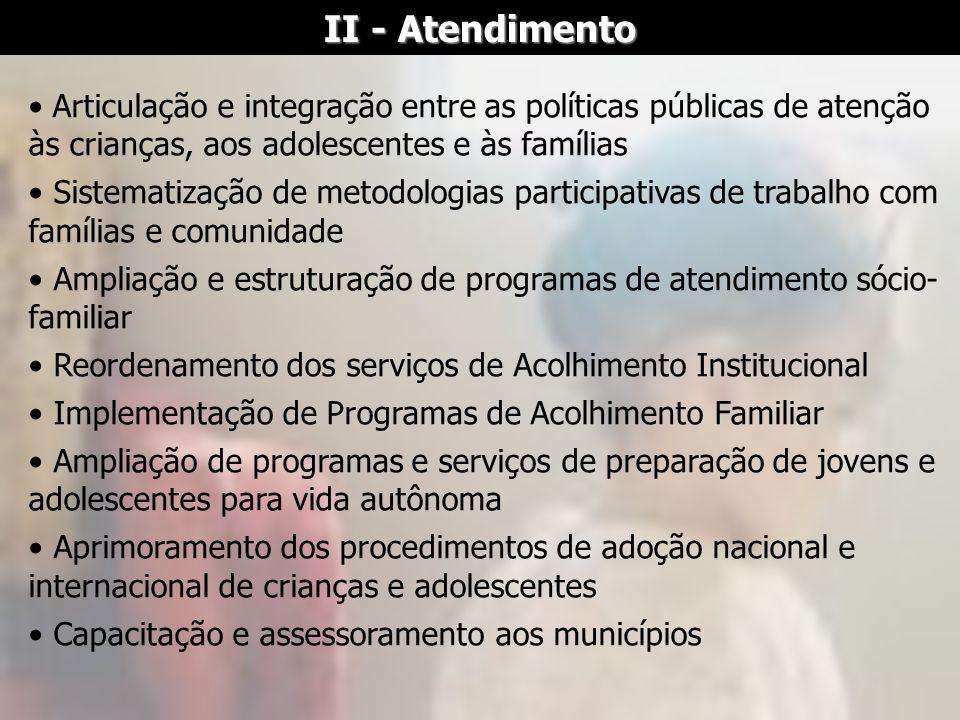 II - Atendimento Articulação e integração entre as políticas públicas de atenção às crianças, aos adolescentes e às famílias.