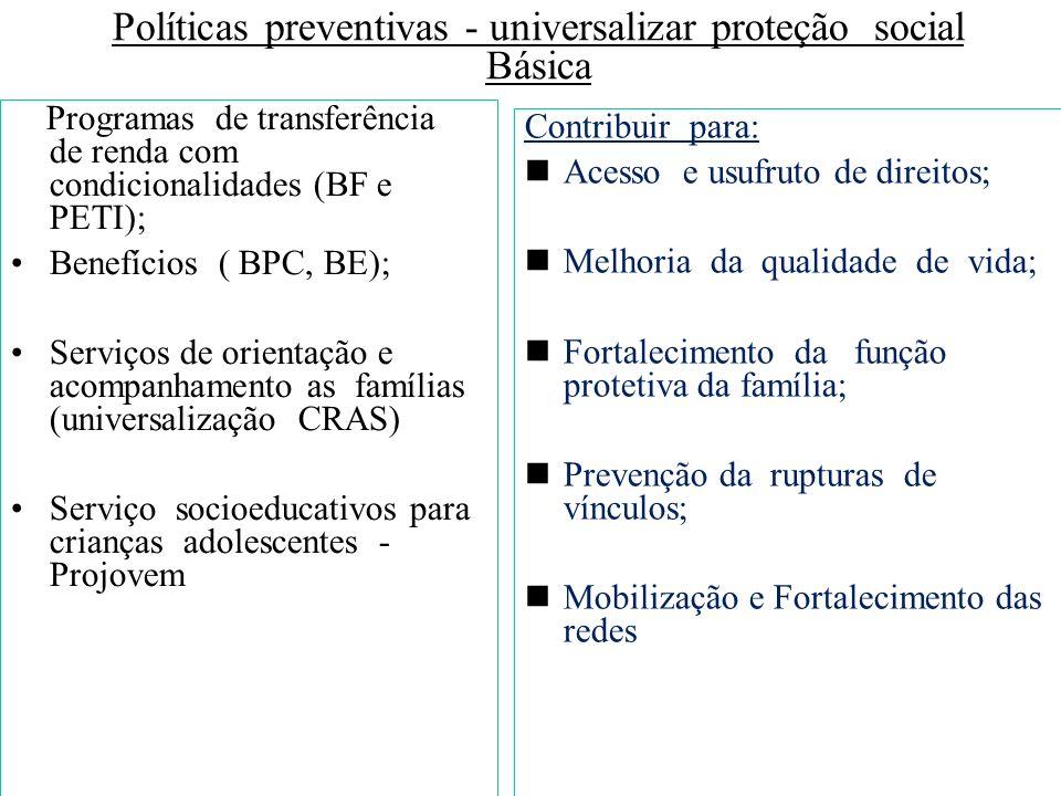 Políticas preventivas - universalizar proteção social Básica