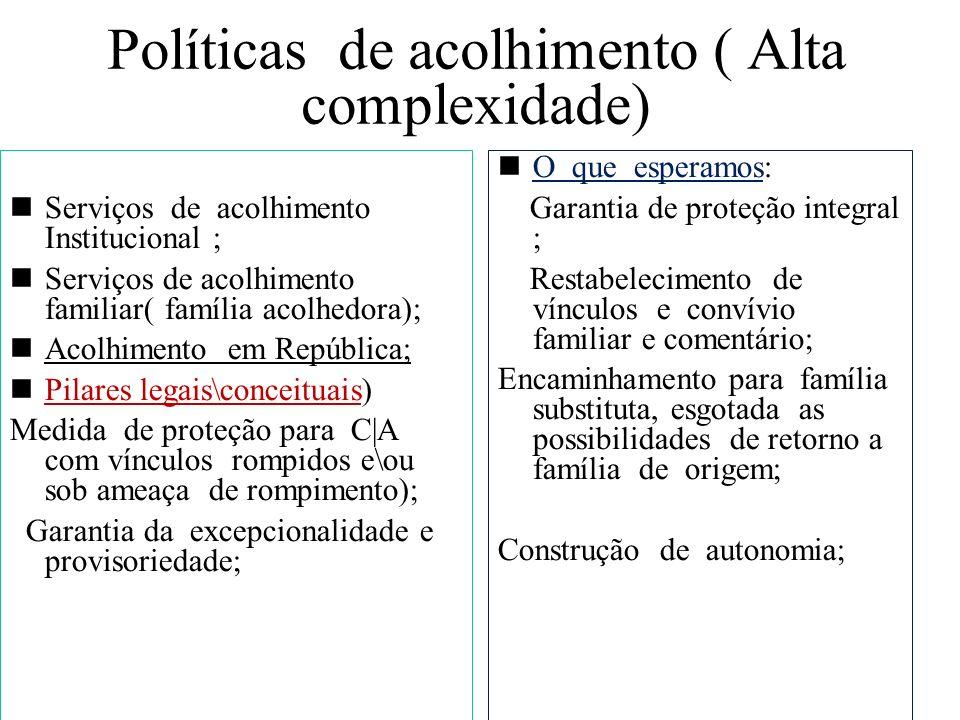 Políticas de acolhimento ( Alta complexidade)