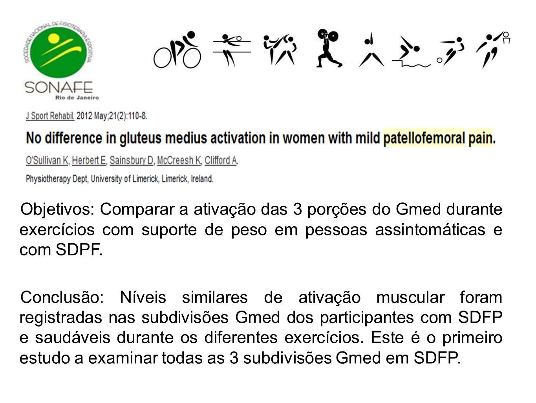 Objetivos: Comparar a ativação das 3 porções do Gmed durante exercícios com suporte de peso em pessoas assintomáticas e com SDPF.