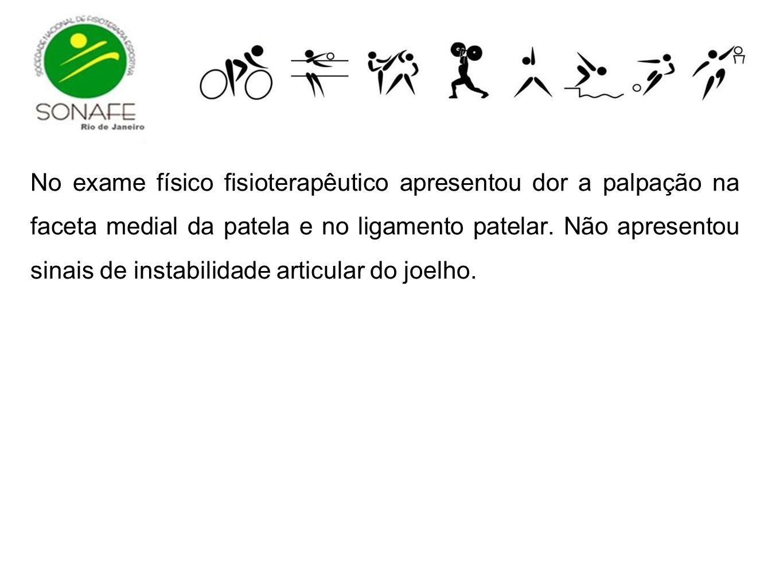 No exame físico fisioterapêutico apresentou dor a palpação na faceta medial da patela e no ligamento patelar.