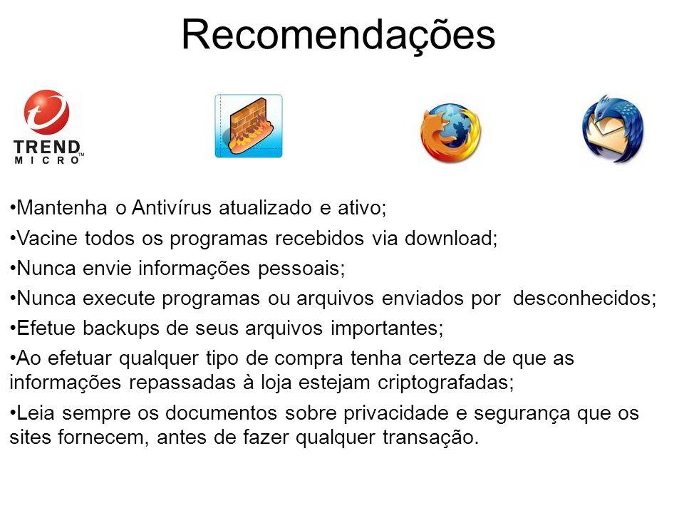 Recomendações Mantenha o Antivírus atualizado e ativo;