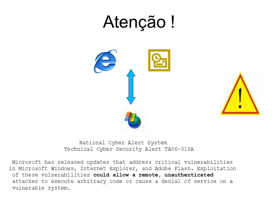 Atenção ! Technical Cyber Security Alert TA06-318A