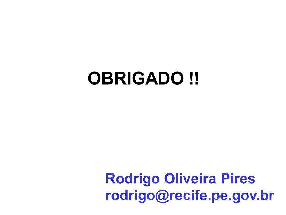 OBRIGADO !! Rodrigo Oliveira Pires rodrigo@recife.pe.gov.br