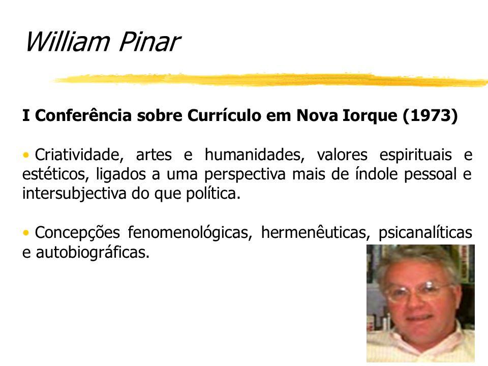 William Pinar I Conferência sobre Currículo em Nova Iorque (1973)