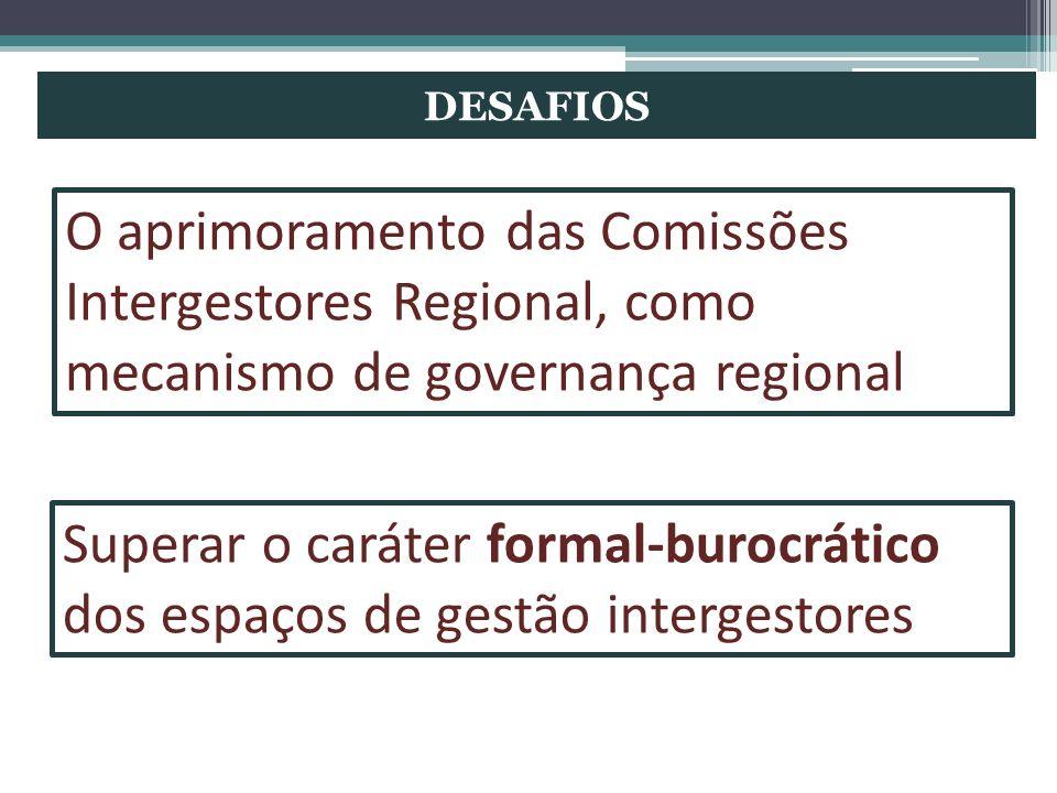 DESAFIOS O aprimoramento das Comissões Intergestores Regional, como mecanismo de governança regional.