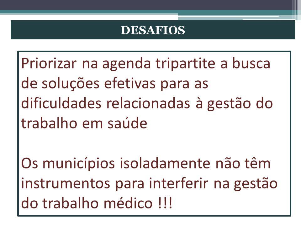 DESAFIOS Priorizar na agenda tripartite a busca de soluções efetivas para as dificuldades relacionadas à gestão do trabalho em saúde.