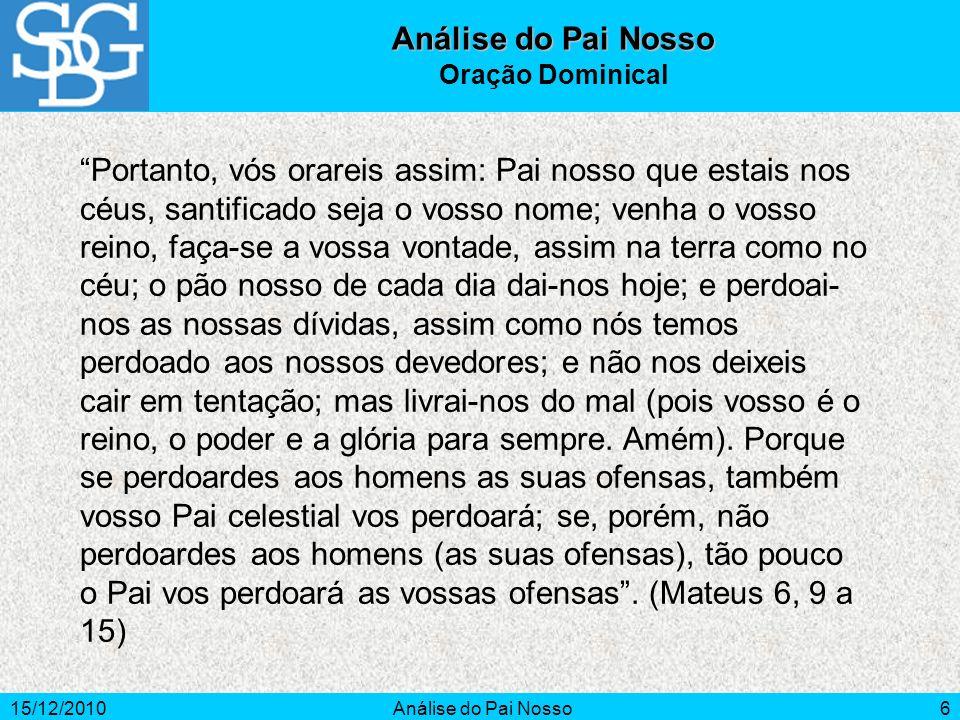 Análise do Pai Nosso Oração Dominical.