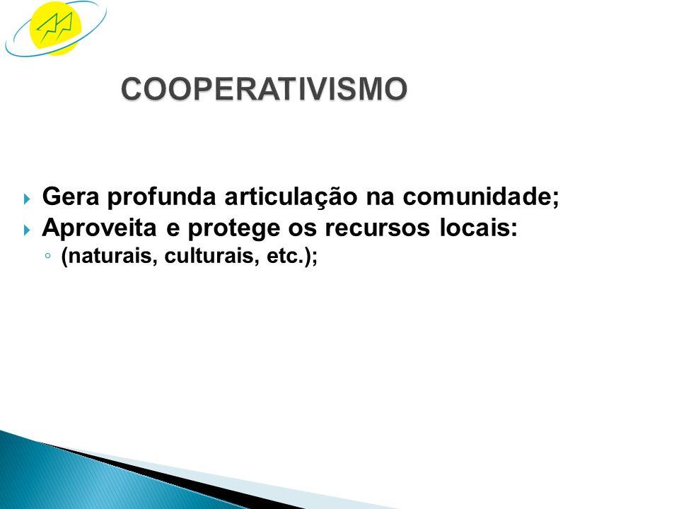 COOPERATIVISMO Gera profunda articulação na comunidade;