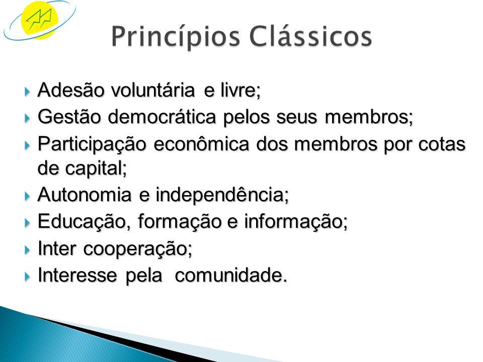 Princípios Clássicos Adesão voluntária e livre;