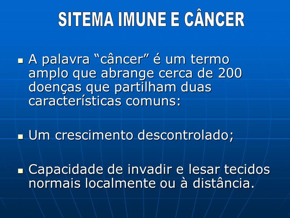 SITEMA IMUNE E CÂNCERA palavra câncer é um termo amplo que abrange cerca de 200 doenças que partilham duas características comuns: