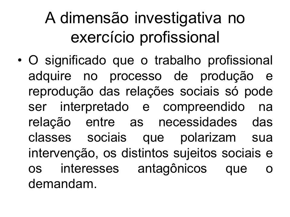 A dimensão investigativa no exercício profissional