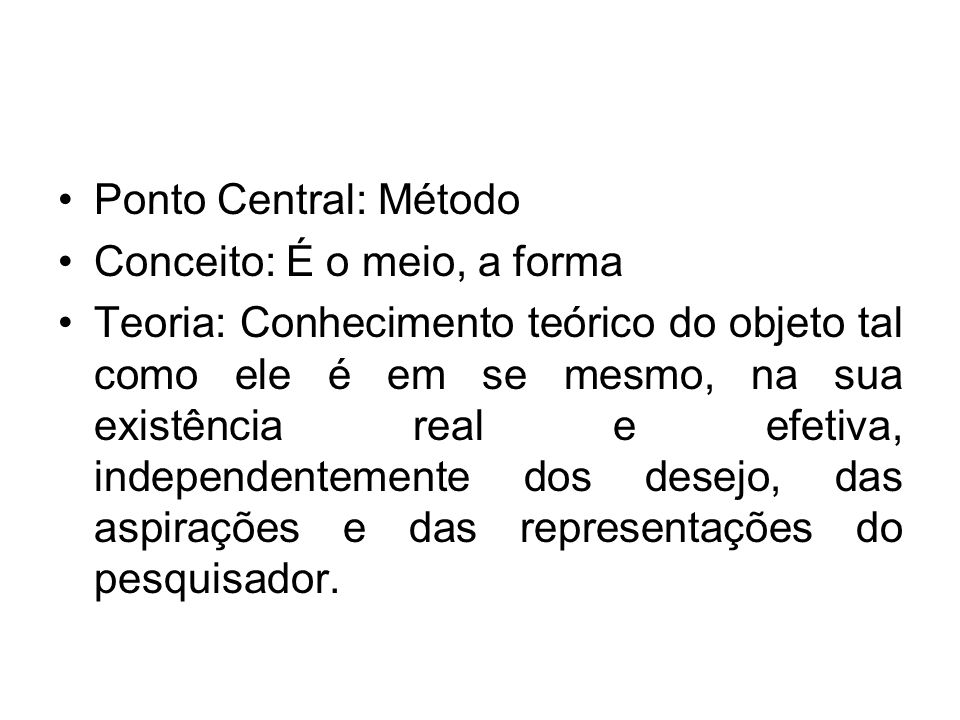 Ponto Central: Método Conceito: É o meio, a forma.