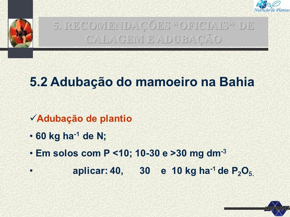 5. RECOMENDAÇÕES OFICIAIS DE CALAGEM E ADUBAÇÃO