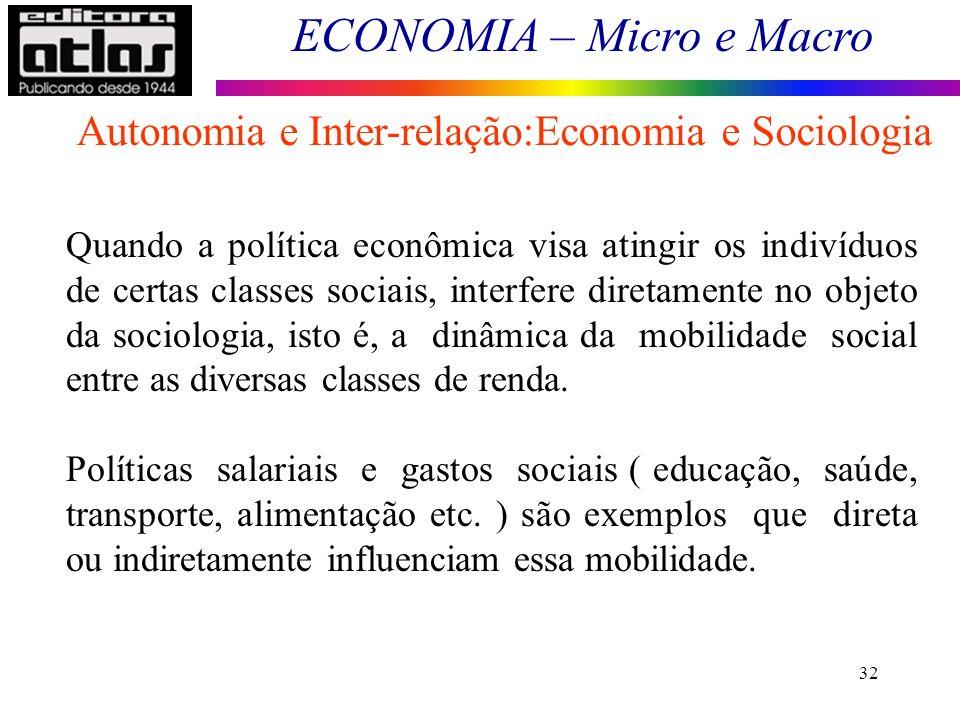 Autonomia e Inter-relação:Economia e Sociologia