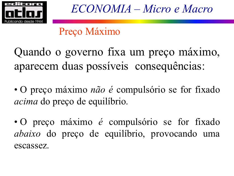 Preço Máximo Quando o governo fixa um preço máximo, aparecem duas possíveis consequências: