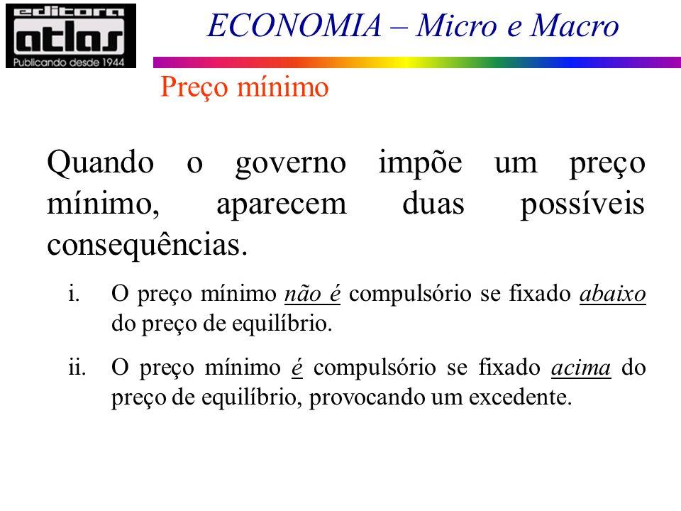 Preço mínimo Quando o governo impõe um preço mínimo, aparecem duas possíveis consequências.