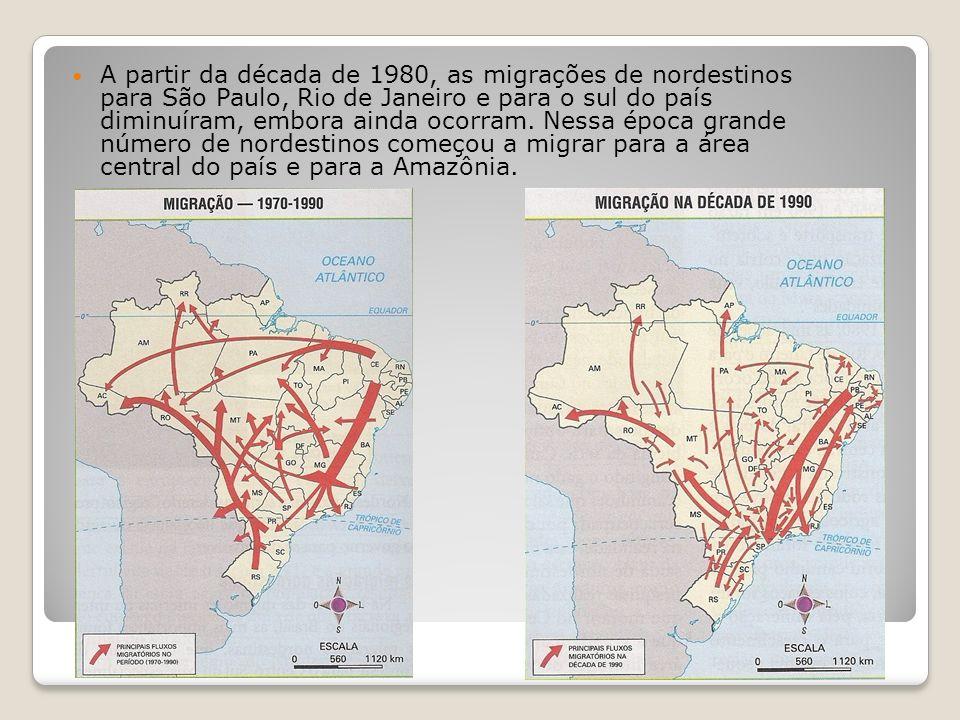 A partir da década de 1980, as migrações de nordestinos para São Paulo, Rio de Janeiro e para o sul do país diminuíram, embora ainda ocorram.