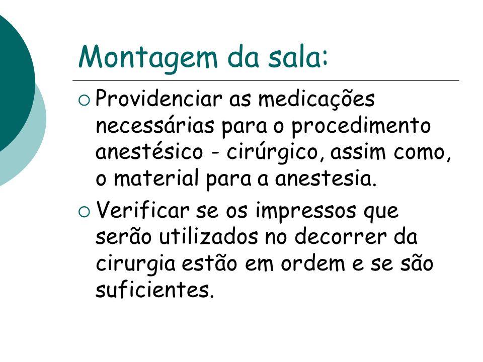 Montagem da sala: Providenciar as medicações necessárias para o procedimento anestésico - cirúrgico, assim como, o material para a anestesia.