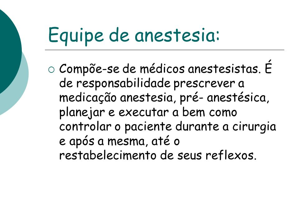 Equipe de anestesia: