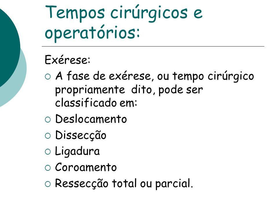 Tempos cirúrgicos e operatórios: