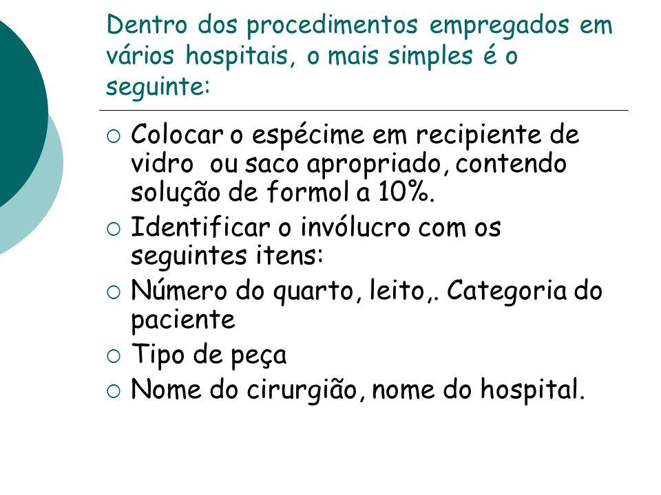 Identificar o invólucro com os seguintes itens: