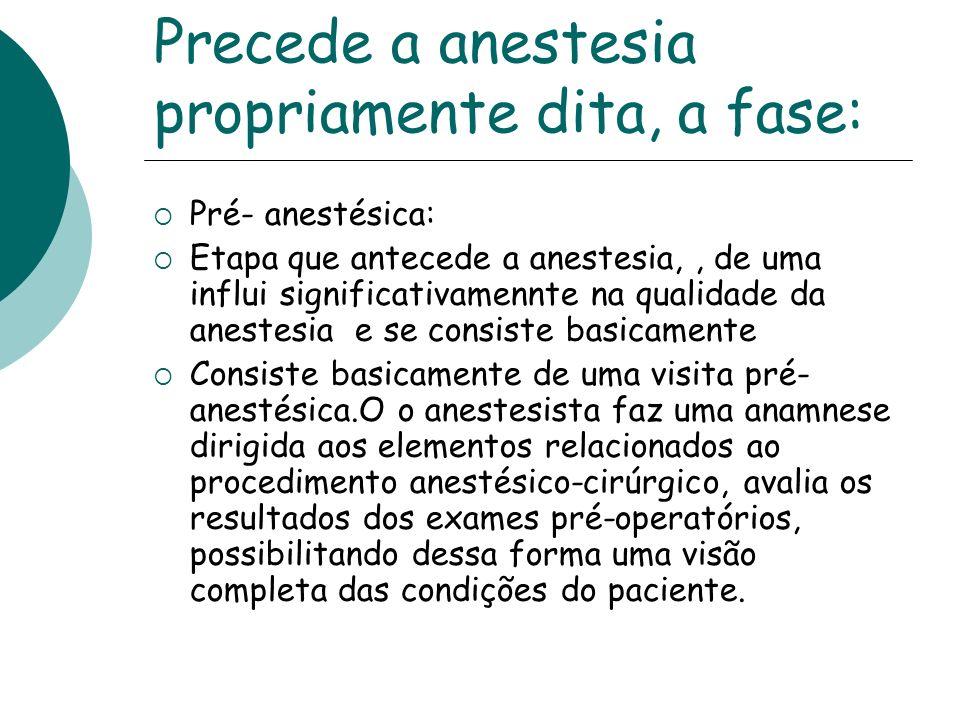 Precede a anestesia propriamente dita, a fase: