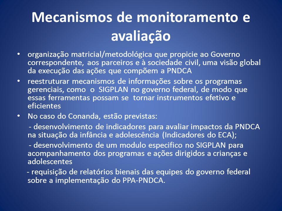 Mecanismos de monitoramento e avaliação