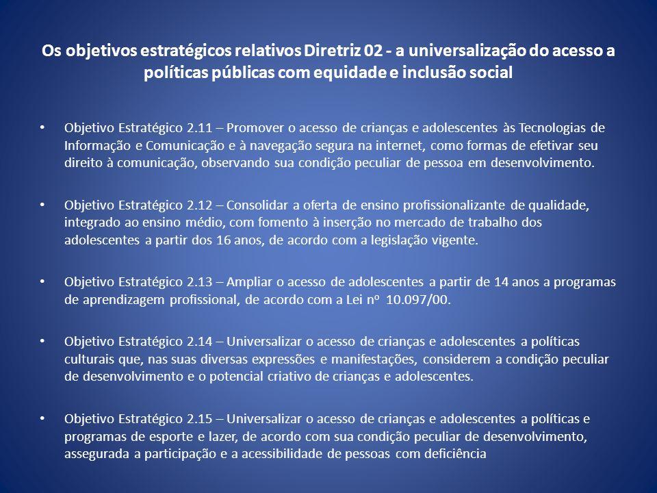 Os objetivos estratégicos relativos Diretriz 02 - a universalização do acesso a políticas públicas com equidade e inclusão social
