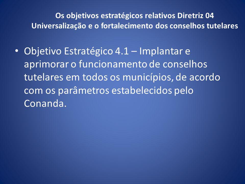 Os objetivos estratégicos relativos Diretriz 04 Universalização e o fortalecimento dos conselhos tutelares