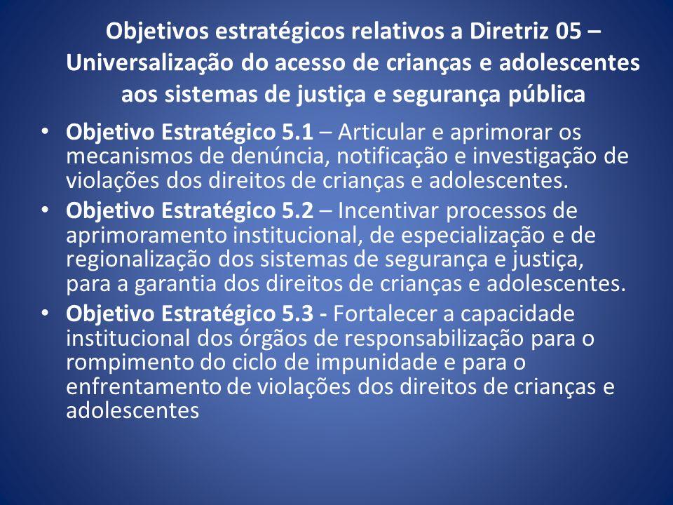 Objetivos estratégicos relativos a Diretriz 05 – Universalização do acesso de crianças e adolescentes aos sistemas de justiça e segurança pública