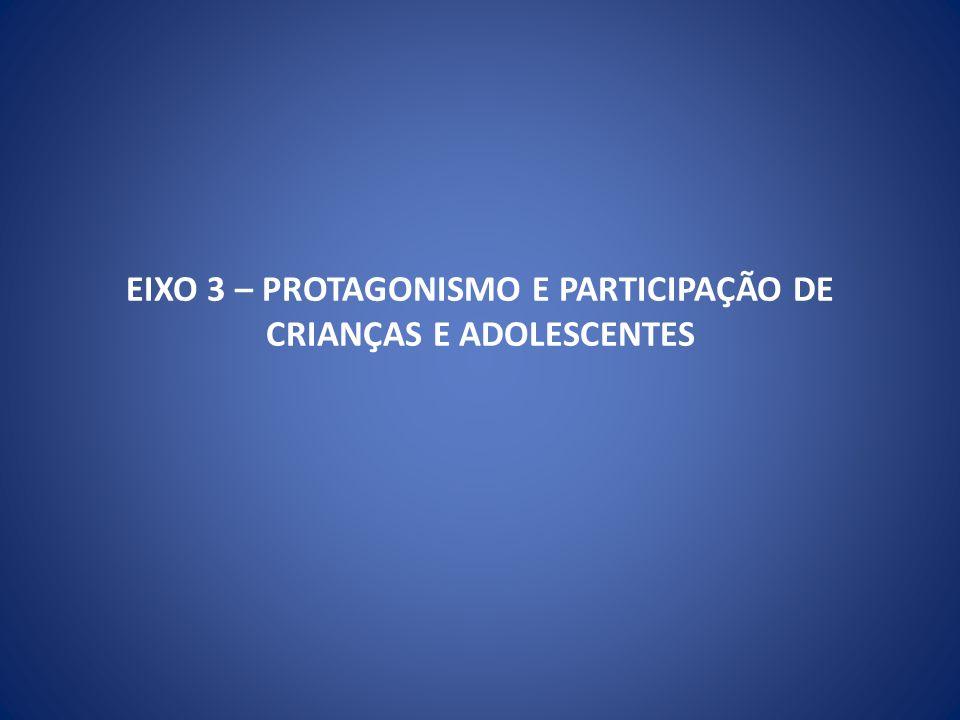 EIXO 3 – PROTAGONISMO E PARTICIPAÇÃO DE CRIANÇAS E ADOLESCENTES