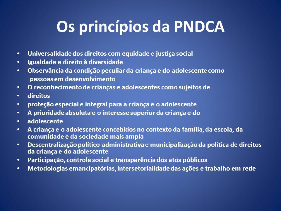 Os princípios da PNDCA Universalidade dos direitos com equidade e justiça social. Igualdade e direito à diversidade.