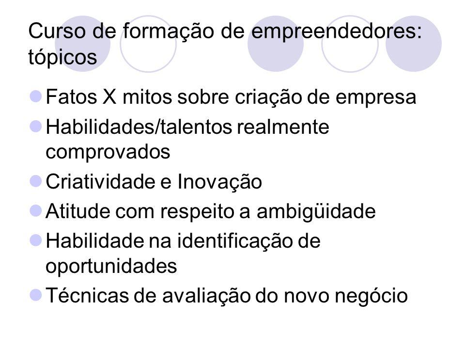 Curso de formação de empreendedores: tópicos