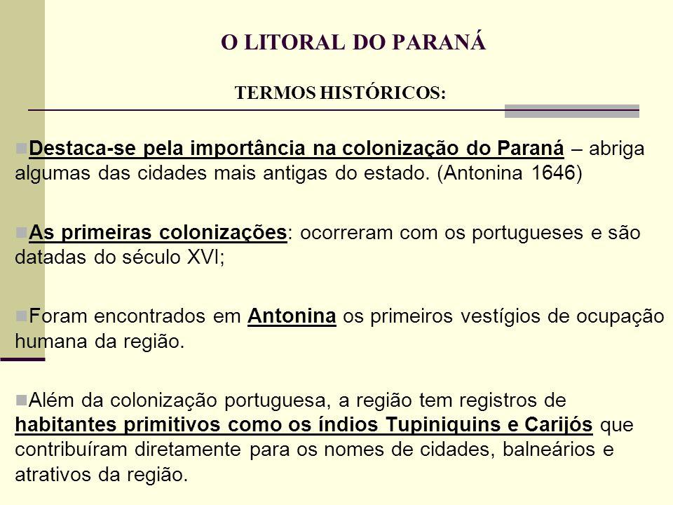 O LITORAL DO PARANÁ TERMOS HISTÓRICOS: