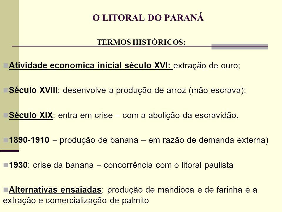 O LITORAL DO PARANÁ TERMOS HISTÓRICOS: Atividade economica inicial século XVI: extração de ouro;