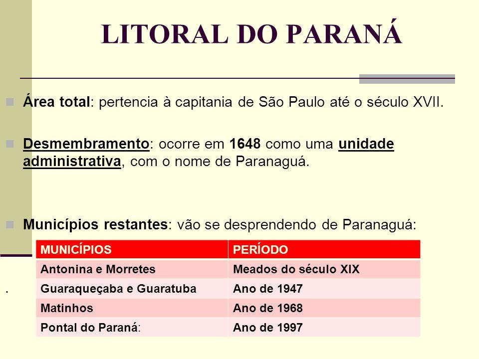 LITORAL DO PARANÁ Área total: pertencia à capitania de São Paulo até o século XVII.