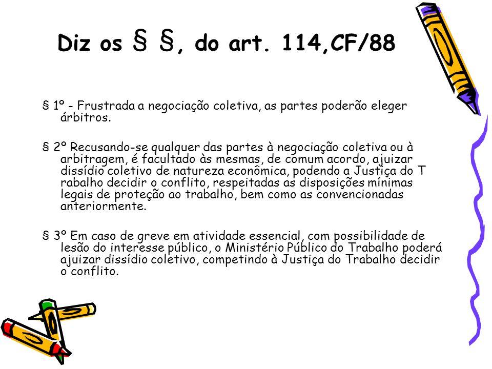 Diz os § §, do art. 114,CF/88 § 1º - Frustrada a negociação coletiva, as partes poderão eleger árbitros.