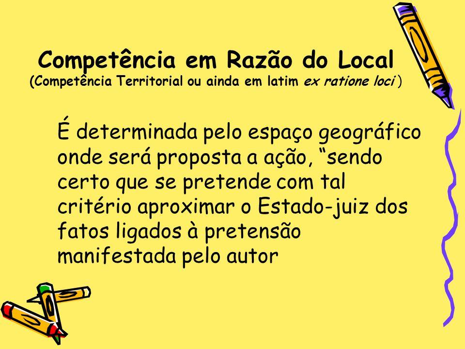 Competência em Razão do Local (Competência Territorial ou ainda em latim ex ratione loci )