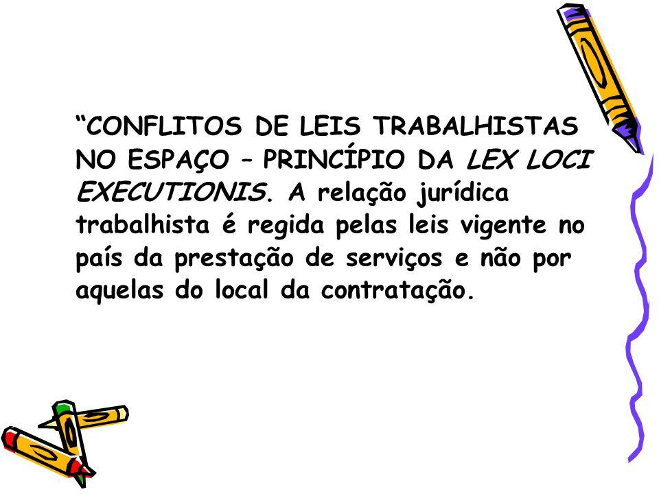 CONFLITOS DE LEIS TRABALHISTAS NO ESPAÇO – PRINCÍPIO DA LEX LOCI EXECUTIONIS.