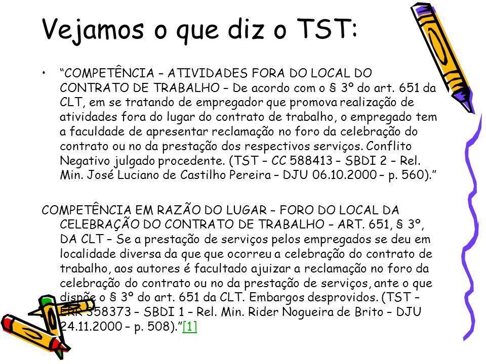 Vejamos o que diz o TST: