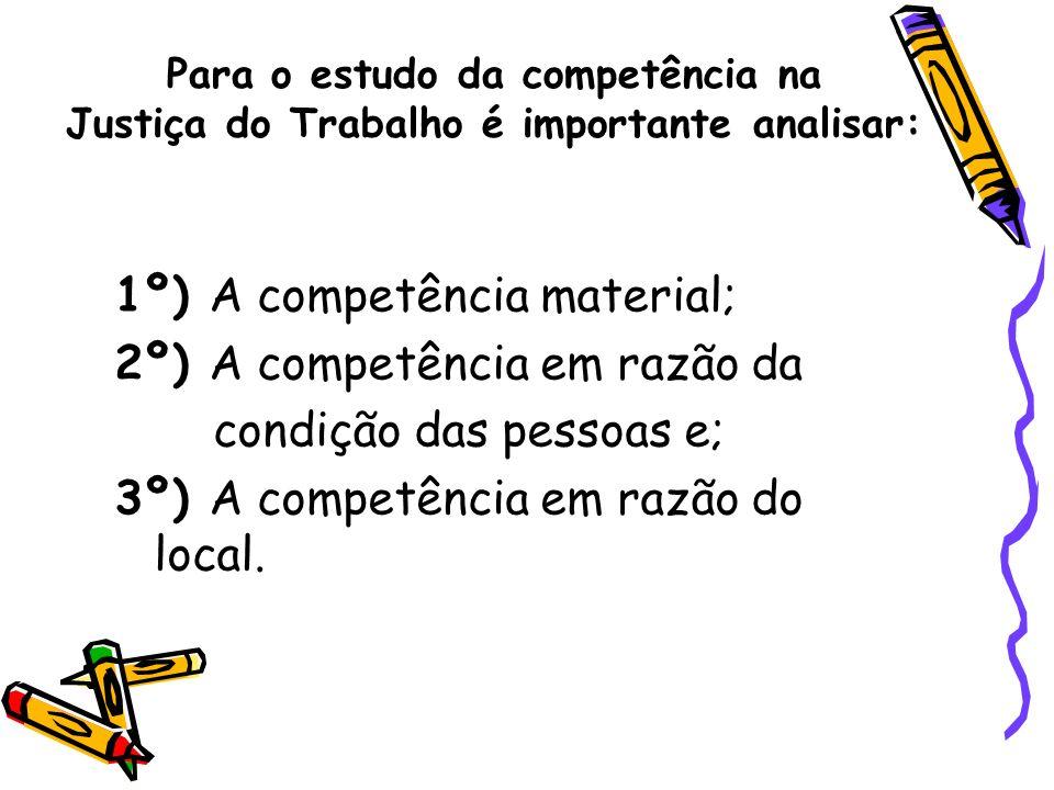 1º) A competência material; 2º) A competência em razão da