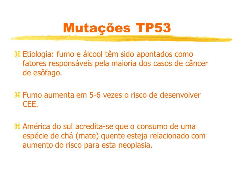 Mutações TP53 Etiologia: fumo e álcool têm sido apontados como fatores responsáveis pela maioria dos casos de câncer de esôfago.
