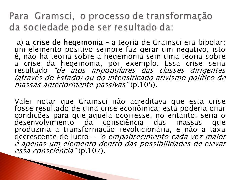 Para Gramsci, o processo de transformação da sociedade pode ser resultado da: