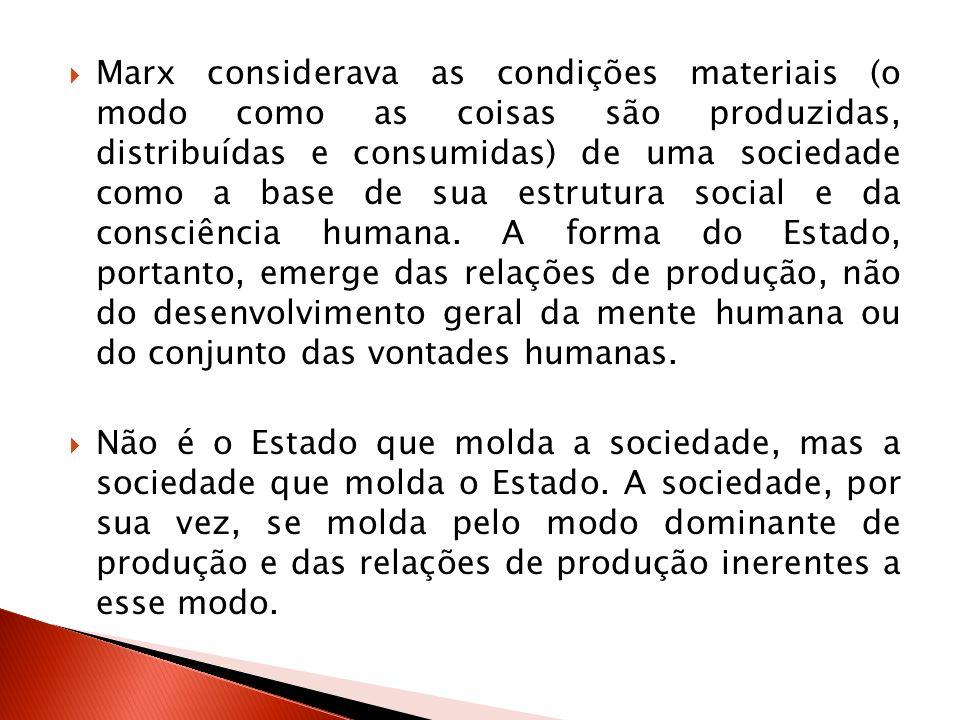 Marx considerava as condições materiais (o modo como as coisas são produzidas, distribuídas e consumidas) de uma sociedade como a base de sua estrutura social e da consciência humana. A forma do Estado, portanto, emerge das relações de produção, não do desenvolvimento geral da mente humana ou do conjunto das vontades humanas.