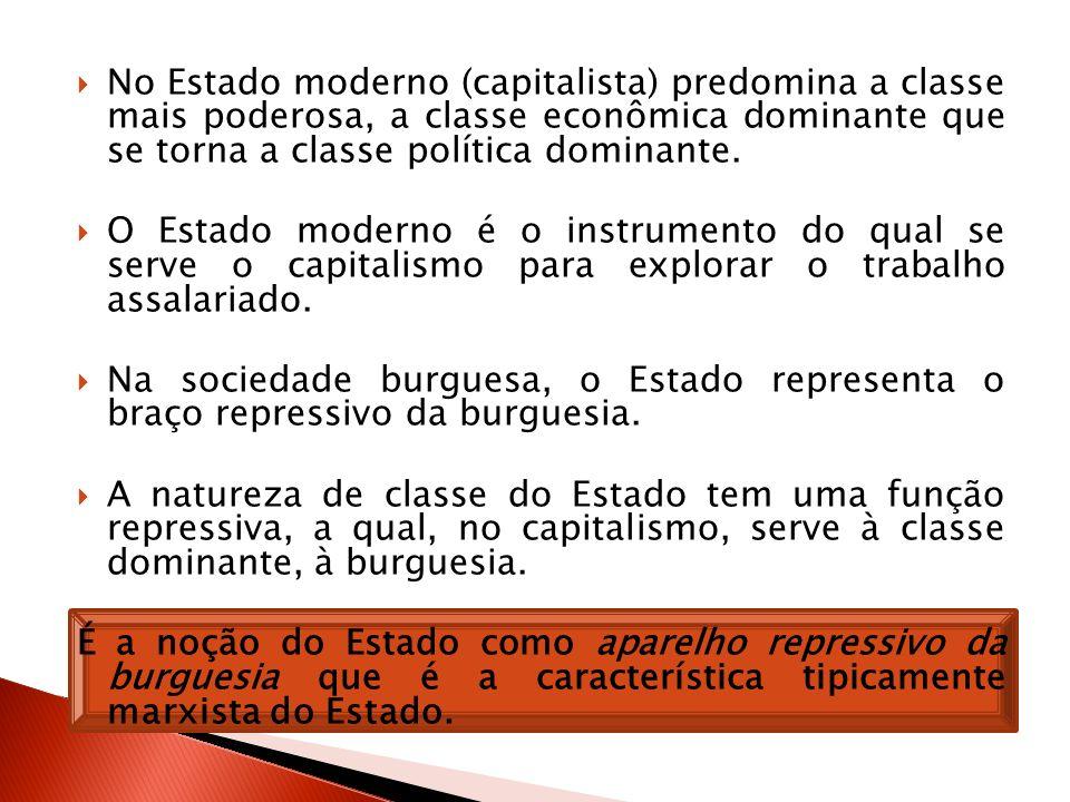 No Estado moderno (capitalista) predomina a classe mais poderosa, a classe econômica dominante que se torna a classe política dominante.